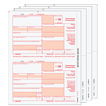 1099-MISC Preprinted Set - 4pt(minimum 10 or increments of 25)